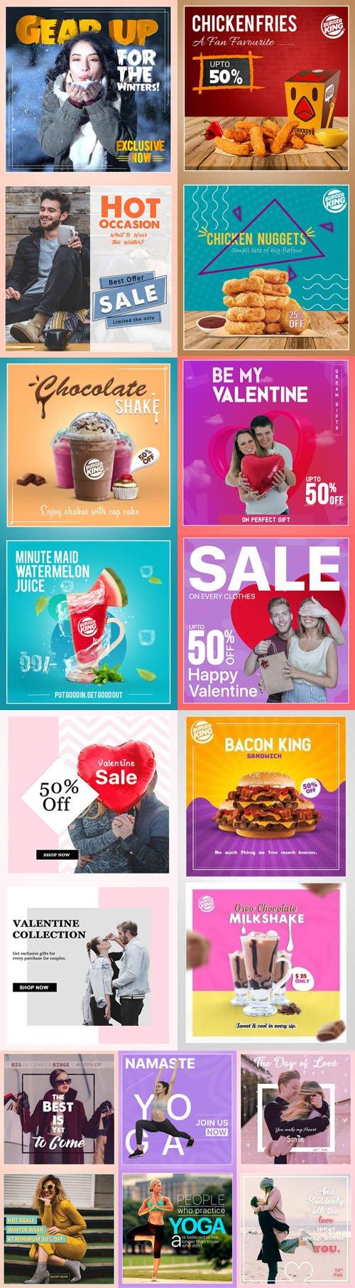 Multipurpose Social Media PSD Templates Collection
