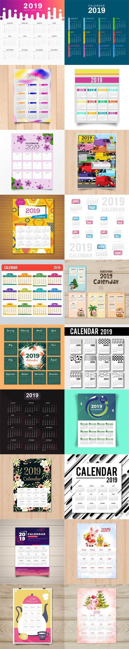 2019 Calendar Vector Templates Collection 7  [20 Calendars]