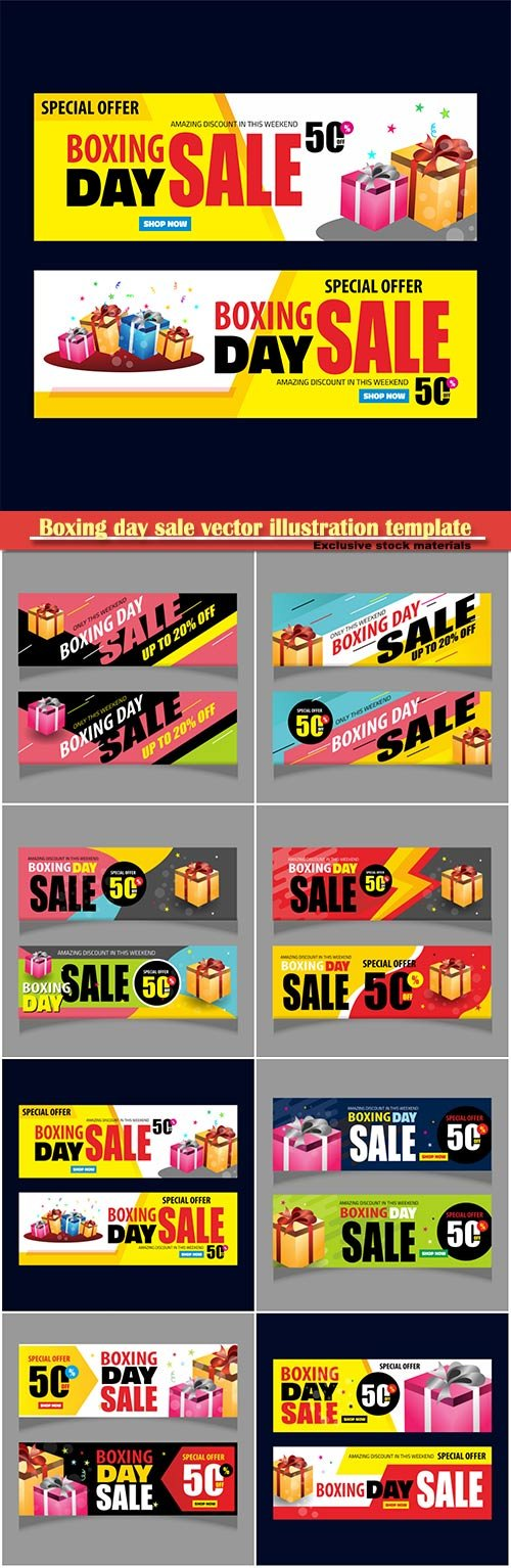 Boxing day sale vector illustration template
