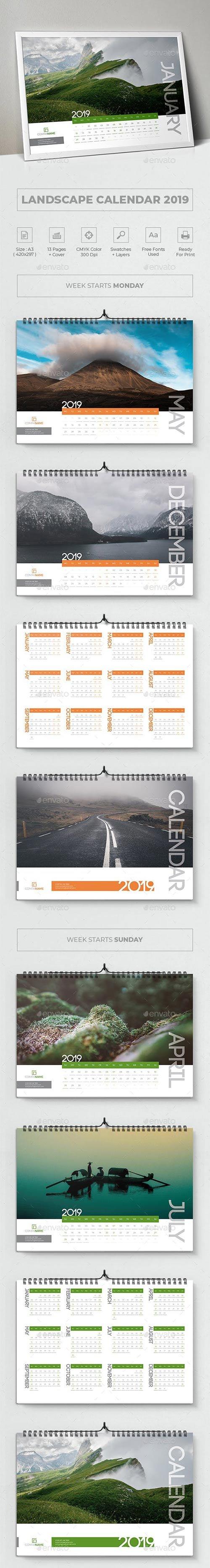 GraphicRiver - Landscape Calendar 2019 22783301