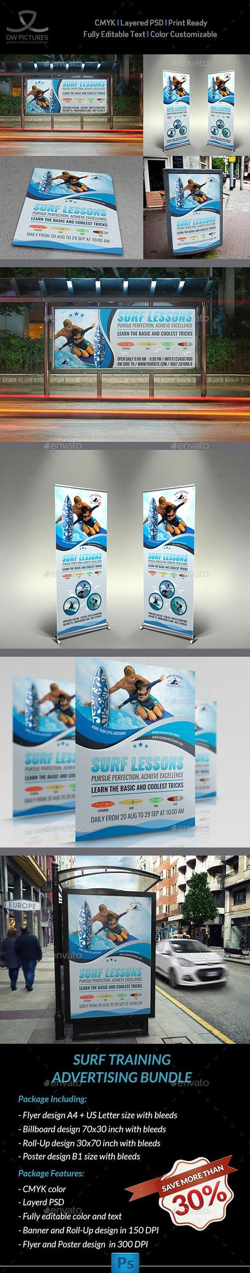 GraphicRiver - Surf Sport Training Advertising Bundle 22734759