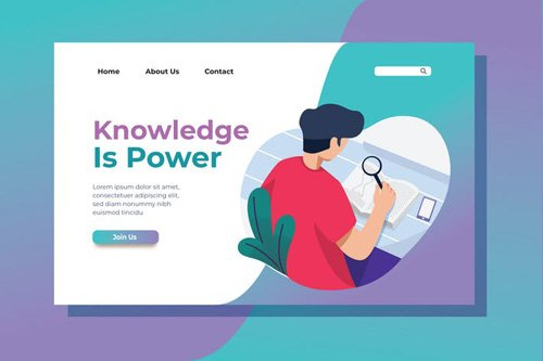 Knowledge is Power Landing Page Illustration