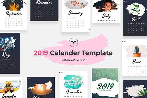 2019 Calendar Light & Dark Version Templates