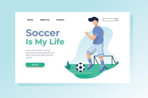 Soccer is My Life Landing Page Illustration