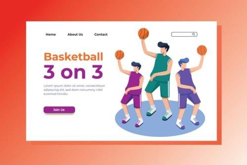Basketball Landing Page Illustration