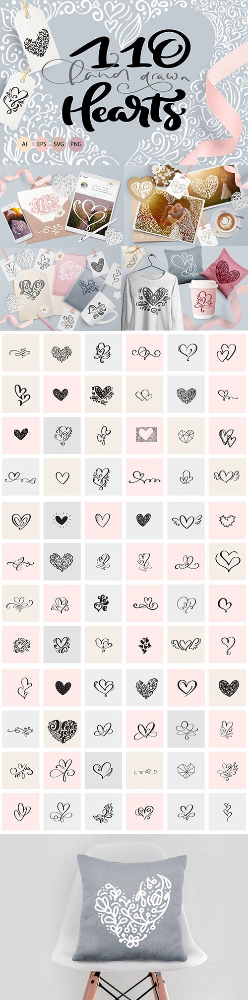 Valentine vector hand draw hearts