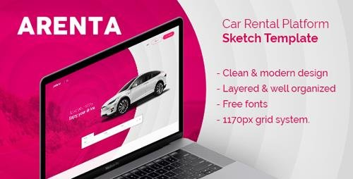 ThemeForest - Arenta v1.0 - Car Rental Platform Sketch Template - 21878860