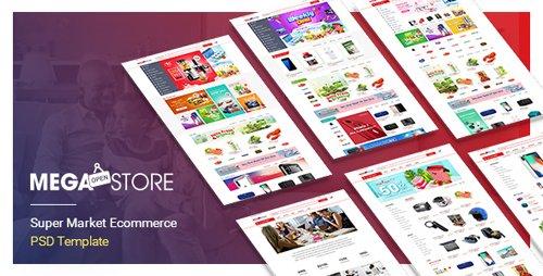 ThemeForest - MegaStore v1.0 - SuperMarket PSD & SKETCH Template - 21245817