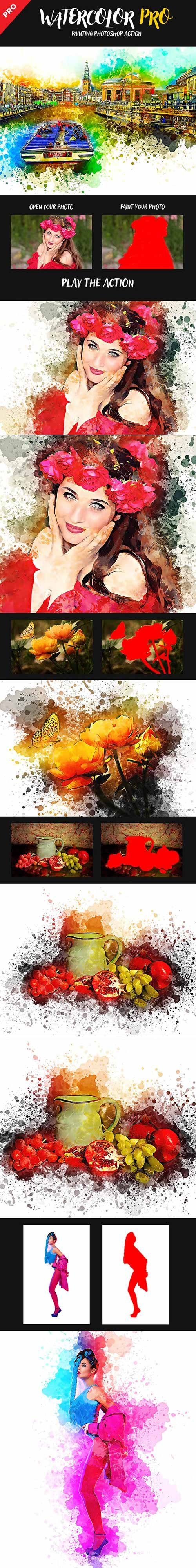 GraphicRiver - Watercolor Pro Painting Photoshop Action 22840711