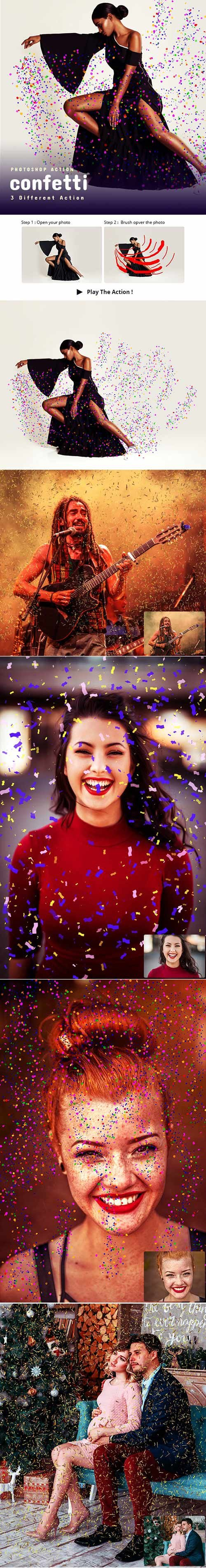 GraphicRiver - 3 Confetti Photoshop Action 22825024