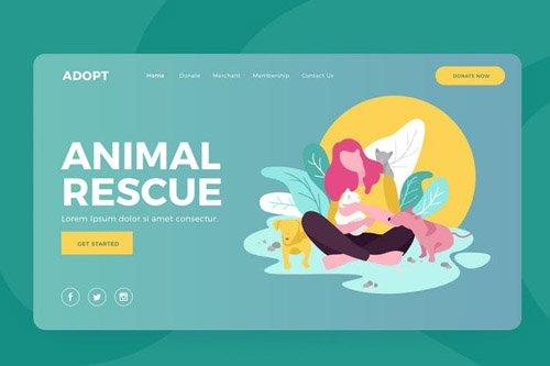 Animal Rescue - Landing Vector Illustration