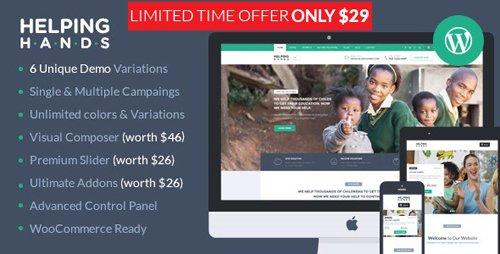ThemeForest - Charity WordPress Theme - Fundraising, Church, NGO, Non Profit | HelpingHands v2.7.0 - 12832860