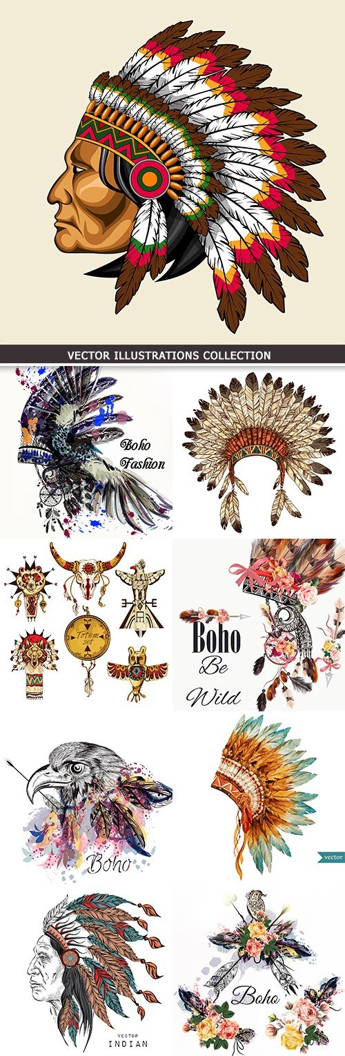 Boho feather and Traditional headdress leader Indians
