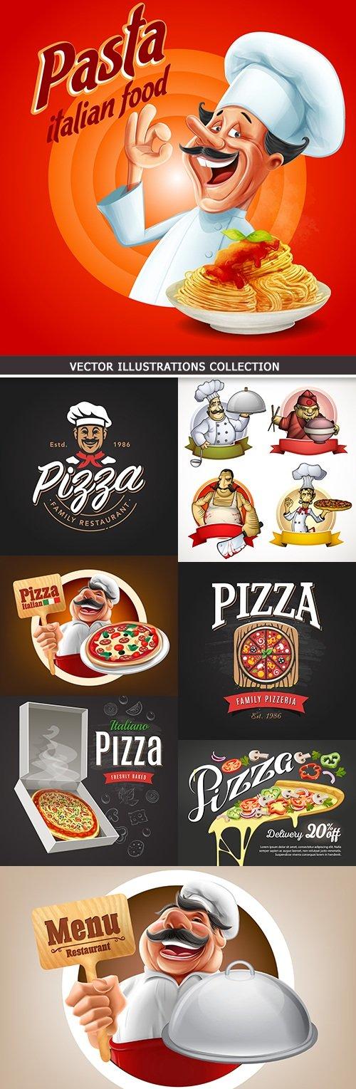 Pizzeria menu and professional chef Italian restaurant