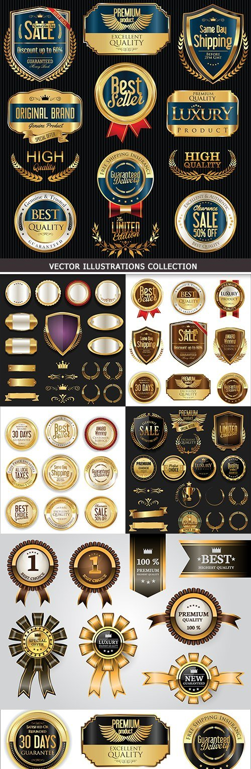 Premium golden badges and luxury labels collection # 22