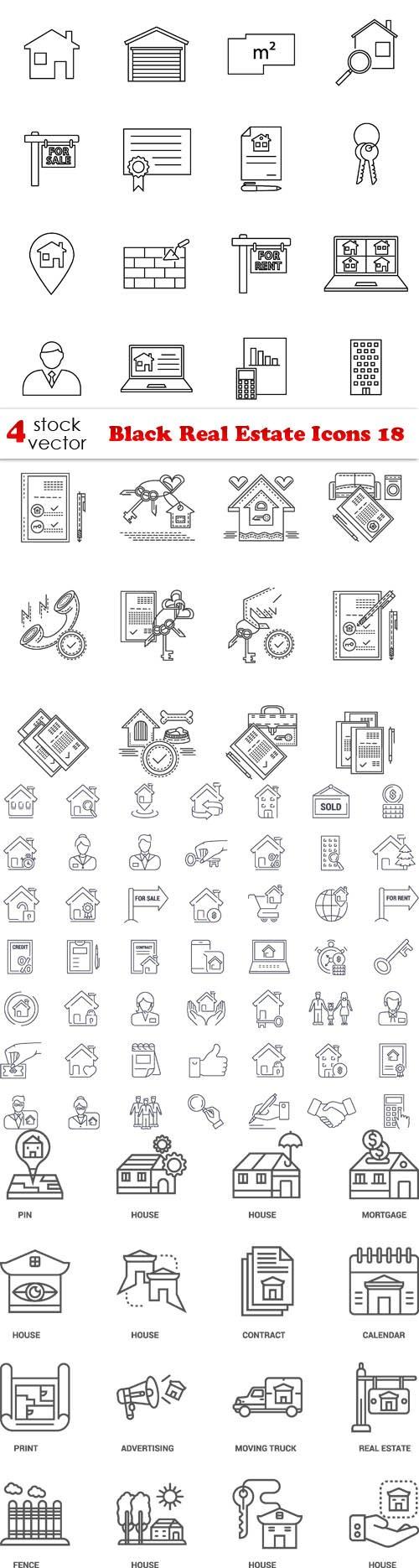 Vectors - Black Real Estate Icons 18