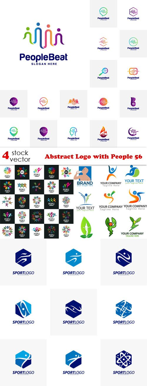 Vectors - Abstract Logo with People 56