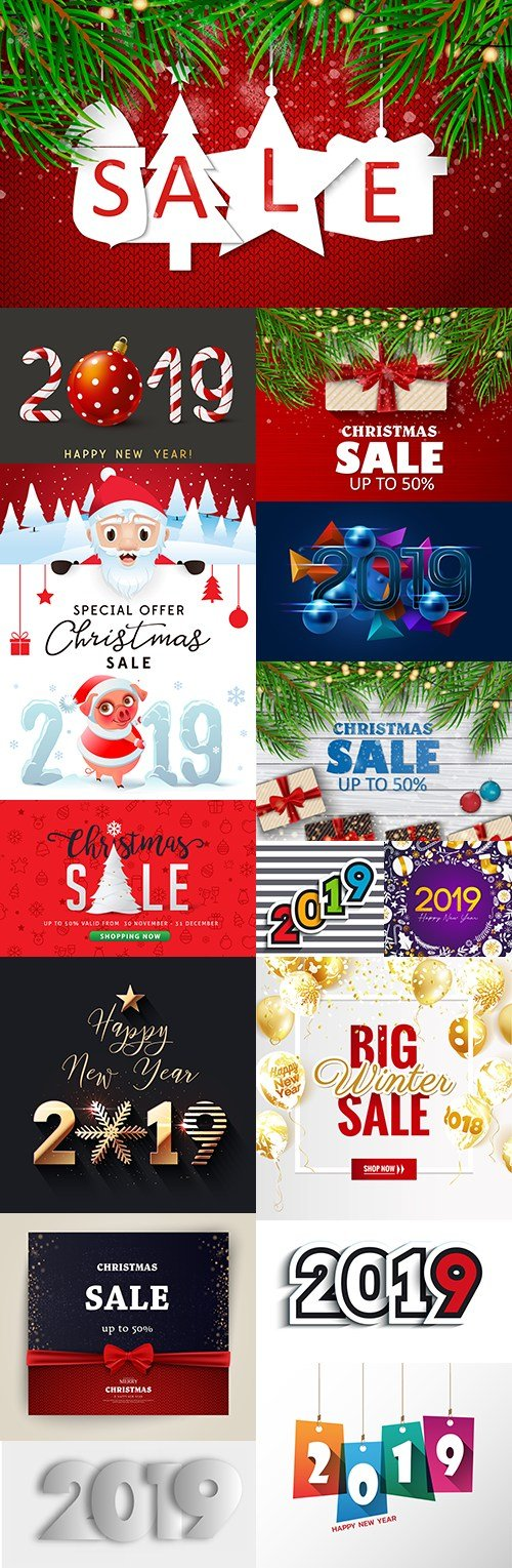 Merry Christmas sale and 2019 New Year decorative design
