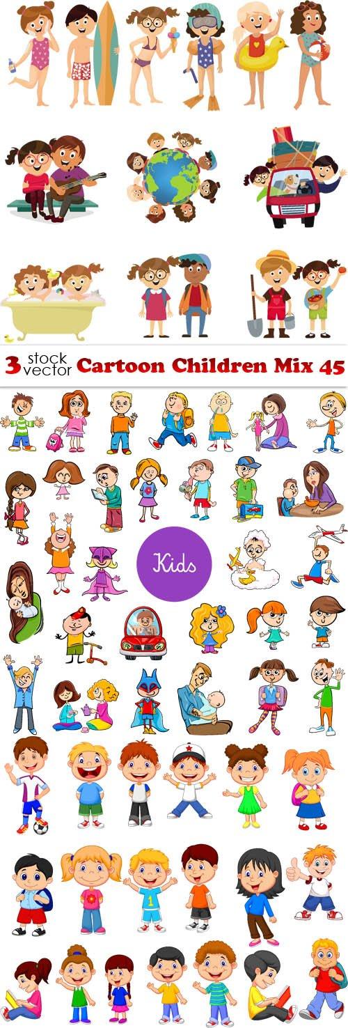 Vectors - Cartoon Children Mix 45