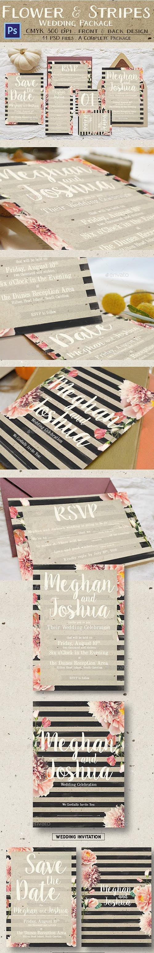 GR - Rustic Flower & Stripes Wedding Package 13641213