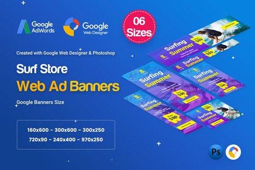 Surf Board Banners HTML5 Ad D41 - GWD & PSD - GTCHZW