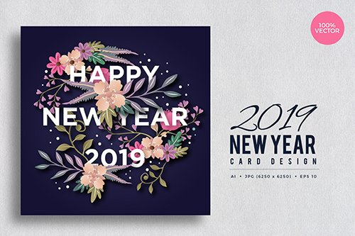 Happy New Year 2019 Floral Vector Card Vol.5