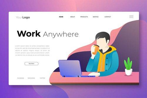 Work Anywhere - Web Header Vector Template