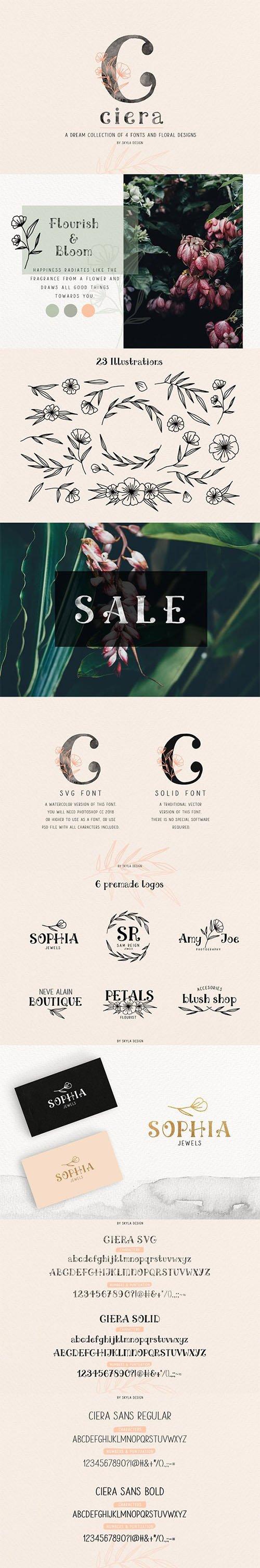Ciera watercolor svg font & florals 2709696