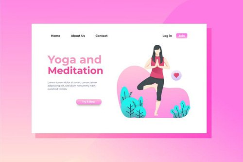 Yoga and Meditation Landing Page Illustration
