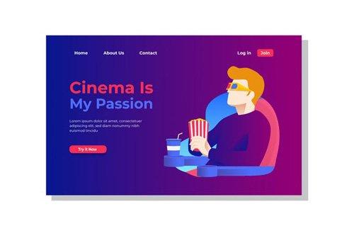 Cinema is My Passion Landing Page Illustration