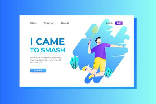Badminton Landing Page Illustration