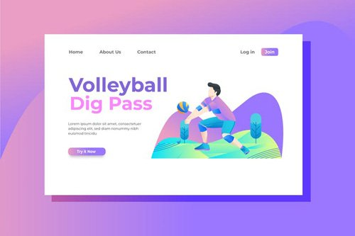 Volleyball Landing Page Illustration