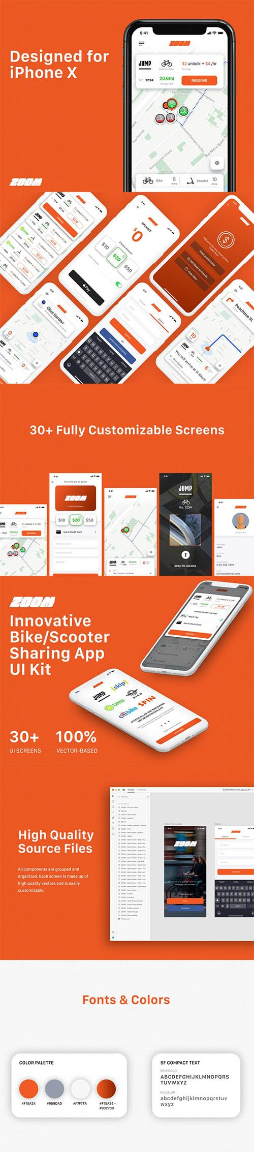 Zoom - Bike/Scooter Sharing UI Kit for iOS