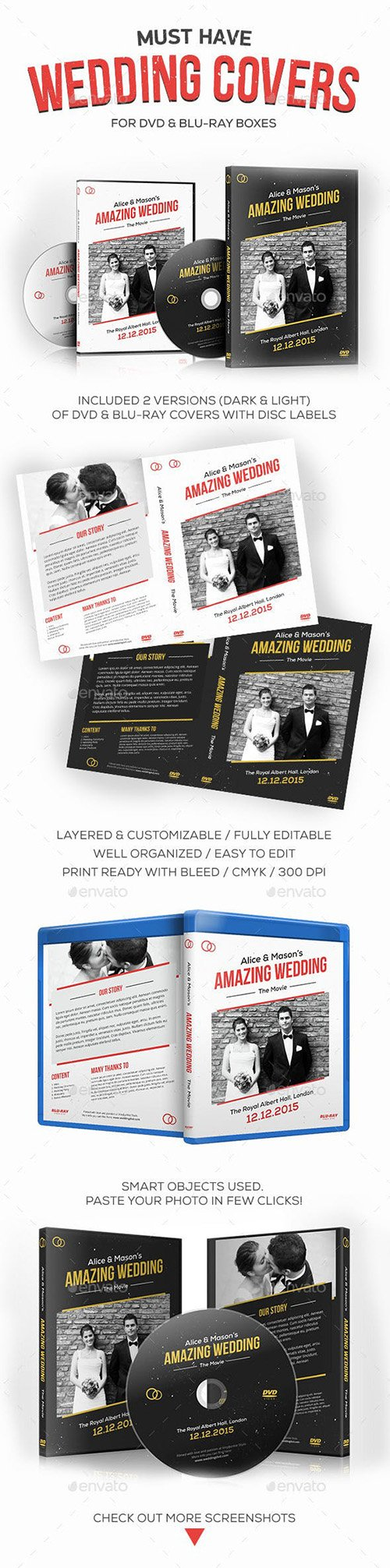 GR - Wedding DVD / Blu-ray Covers with Disc Labels 9878068