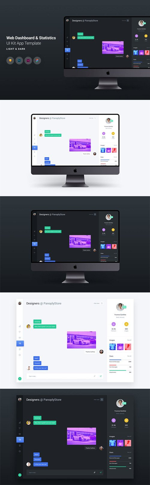 Web Dashboard & Chat UI Kit App Template 9