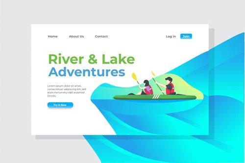 River & Lake Adventures Landing Page Illustration