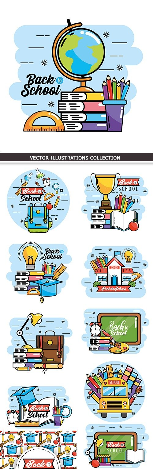 Back to school education collection vector elements