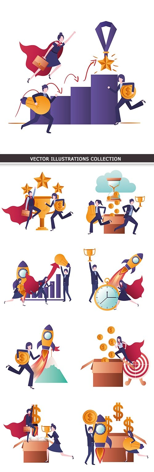 Business finance and accounting team work illustration