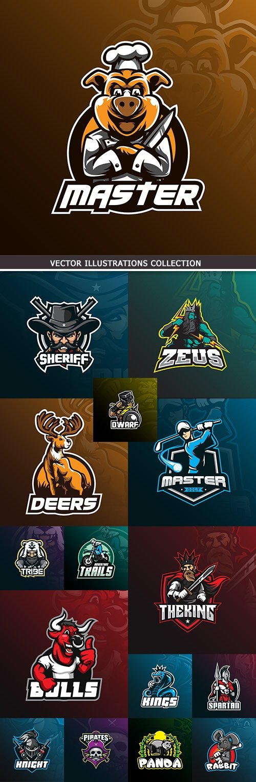 Professional logo cartoon characters vector symbols