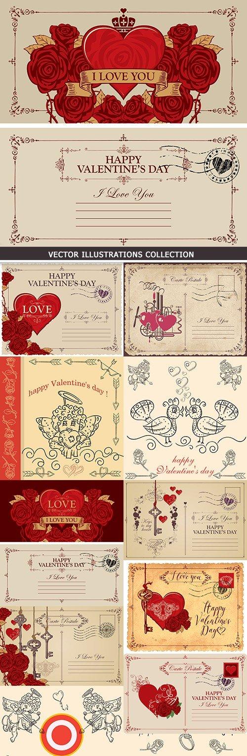 St. Valentine's Day romantic invitations retro style