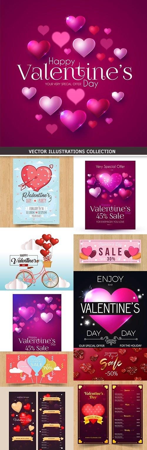 Valentines day festive invitation and elements design