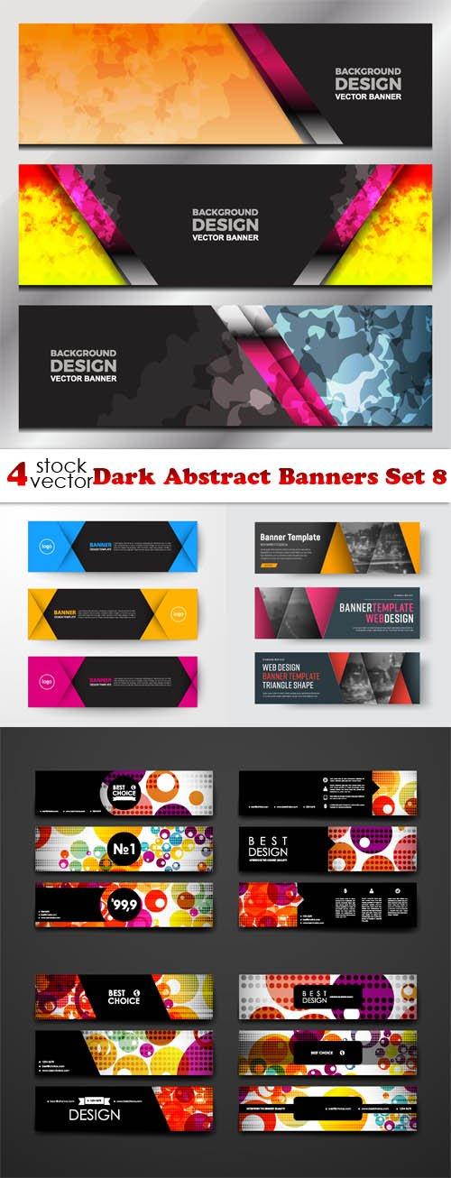 Vectors - Dark Abstract Banners Set 8