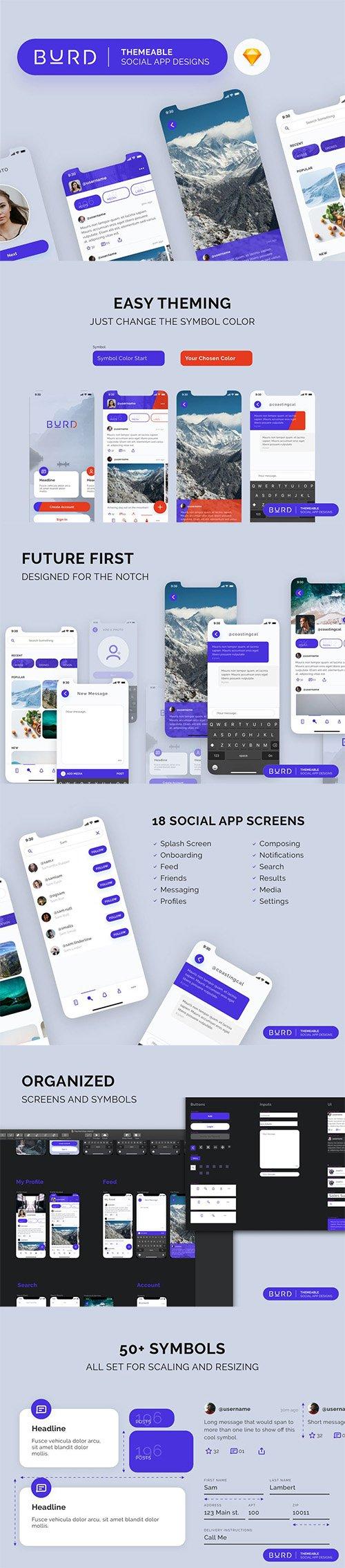 Burd Sketch Social UI Kit