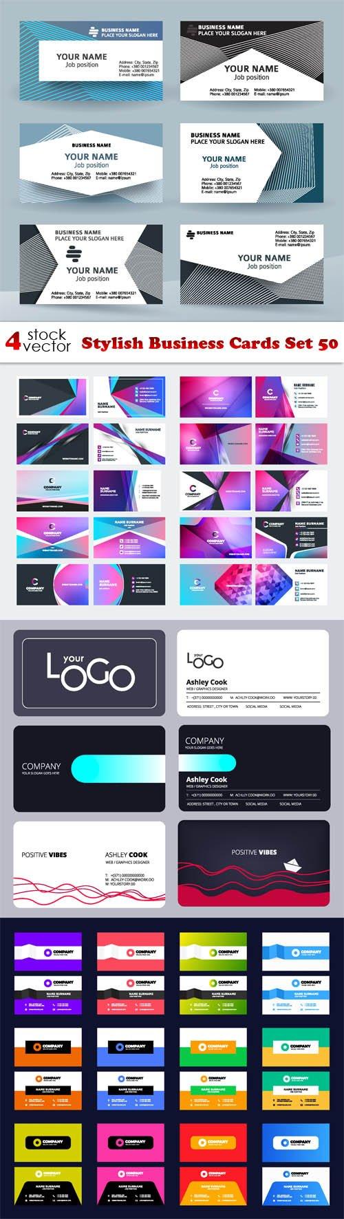 Vectors - Stylish Business Cards Set 50
