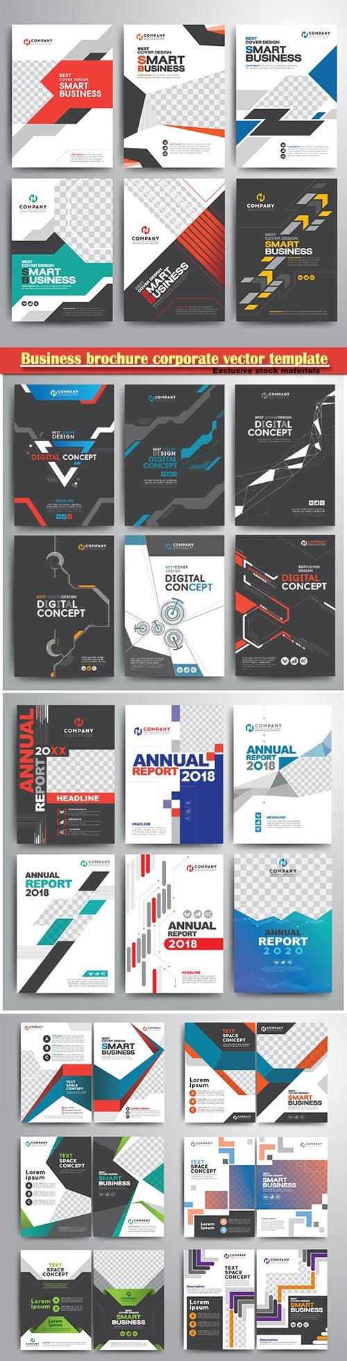 Business brochure corporate vector template, magazine flyer mockup # 2