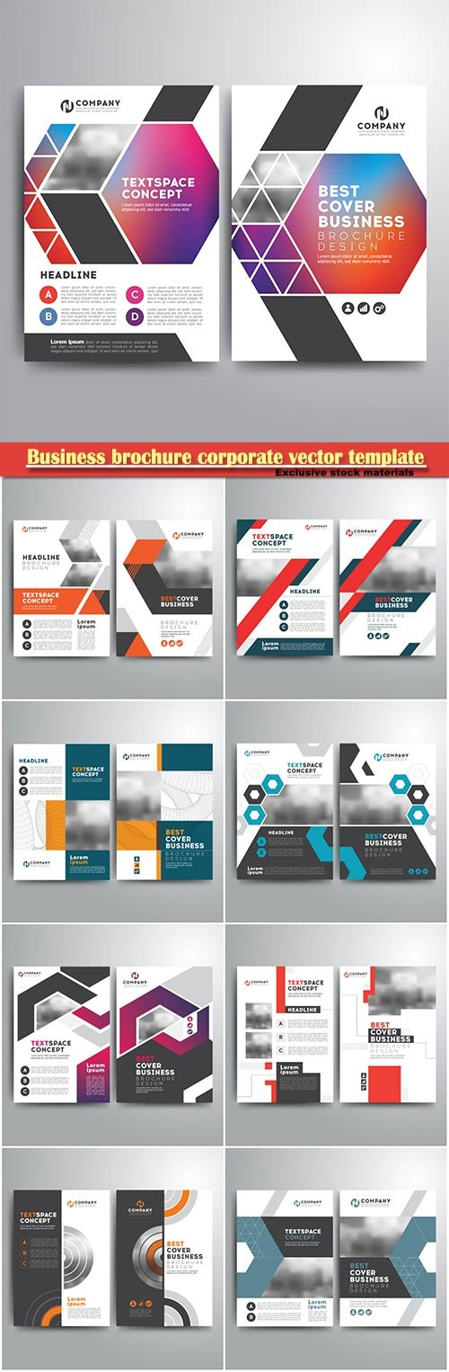 Business brochure corporate vector template, magazine flyer mockup # 4