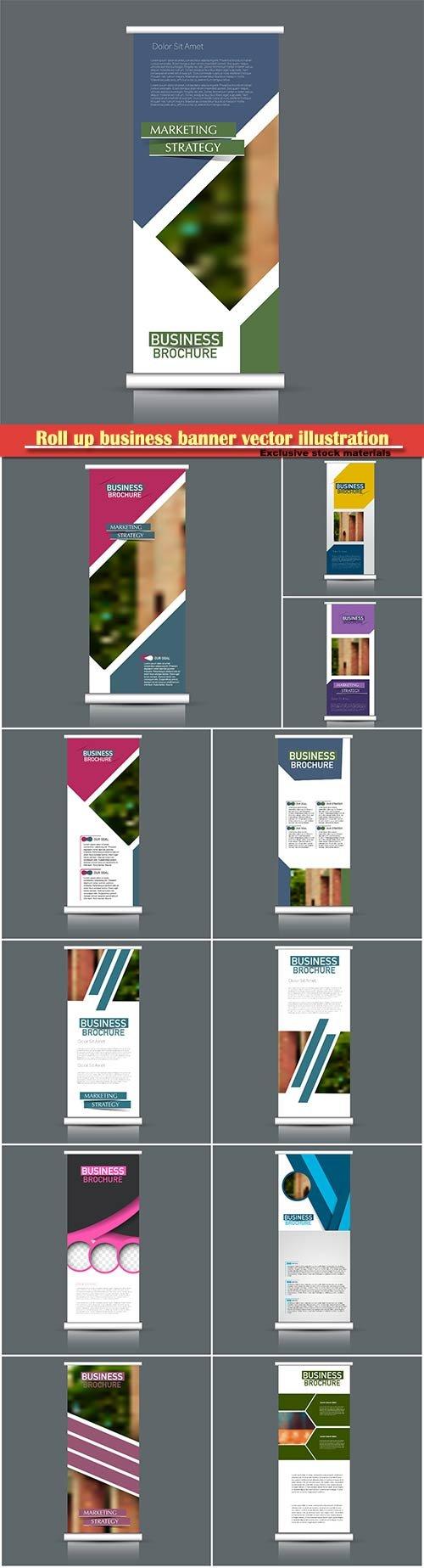 Roll up business banner vector design illustration