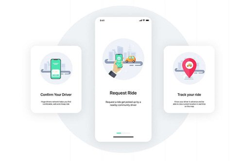 3 Onboarding screens concept for Taxi apps
