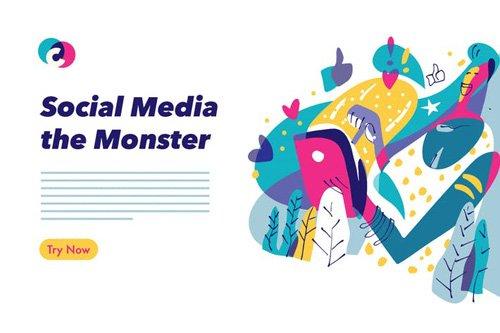 Social Media colorful graphic illustration - 02