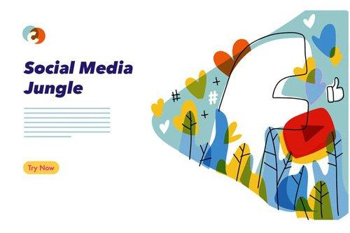 Social Media colorful graphic illustration - 04